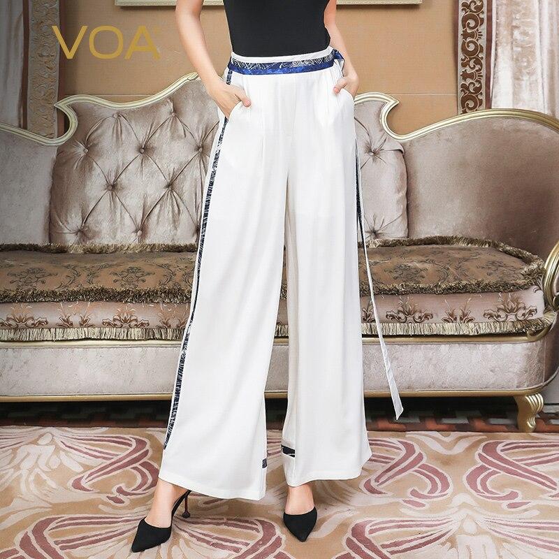 VOA тяжелый шелк белые широкие брюки ноги офис длинные брюки для женщин; Большие размеры 5XL свободные Высокая талия основной краткое элегантн