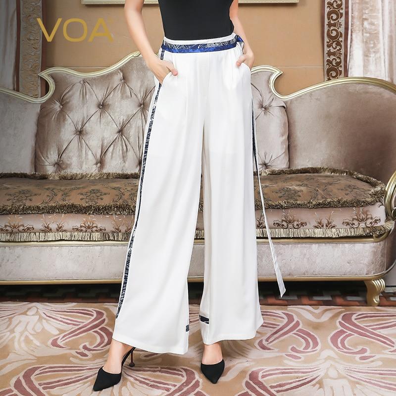 Tamaño Básica Pantalones Mujeres Elegante Las Verano K523 Breve De Blanco 5xl Voa Plus Suelto Largos Ancho Pierna Cintura Seda Pesado Alta wPxwqYfaz