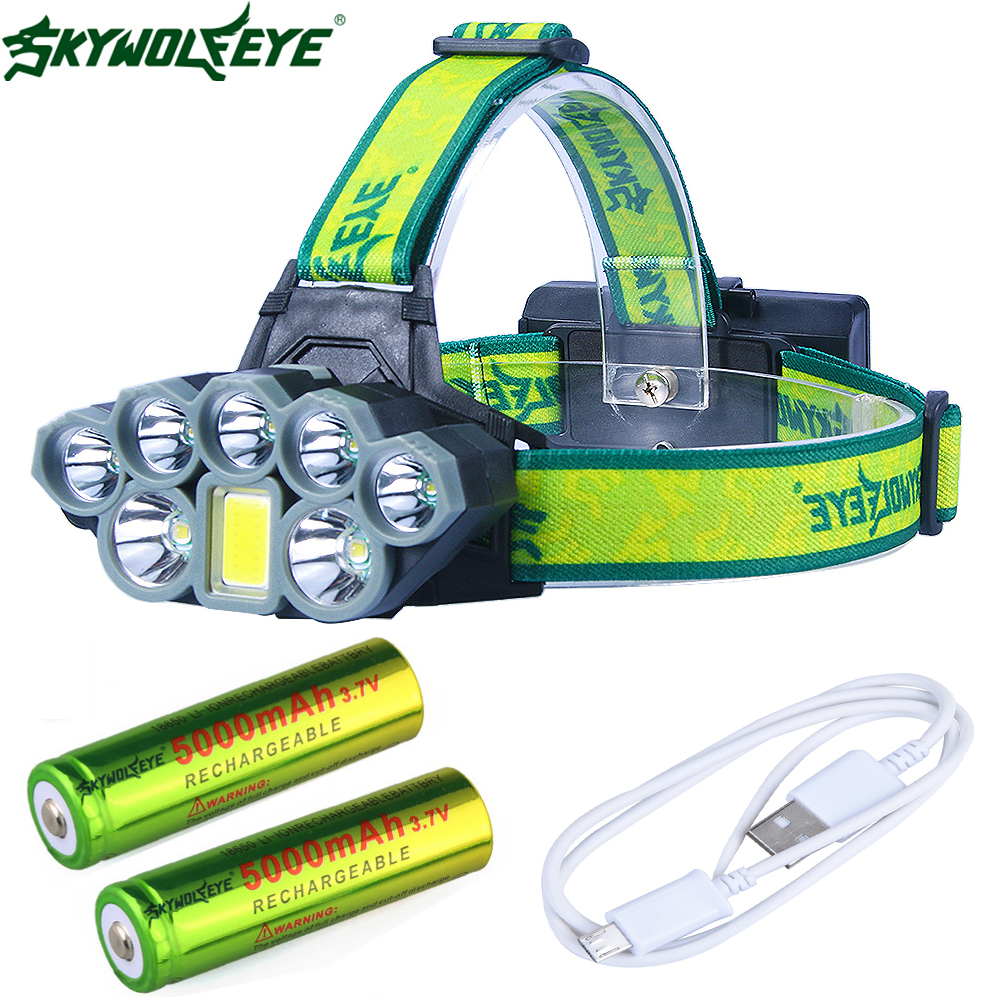 Headlight 50000 Lumen 8-Mode USB Headlamp 7X*XM-L T6 +COB LED Head Lamp Torch Lanterna With 18650  Batteries Charger