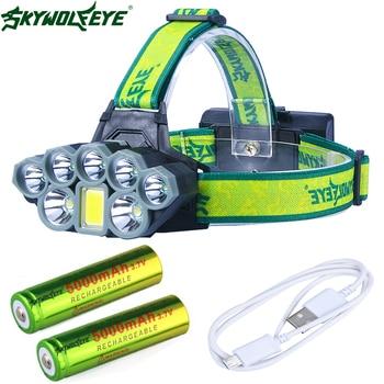 Headlight 50000 Lumen 8-Mode USB headlamp 7X*XM-L T6 +COB LED Head Lamp Torch Lanterna with 18650  batteries charger