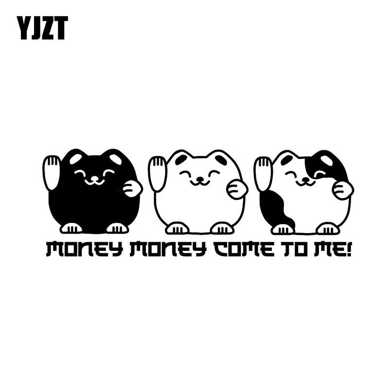 YJZT 15.2CM*5.2CM MONEY MONEY COME TO MI ! CAR STICKER  LUCKY CATS VINYL DECAL Black Silver C10-02483