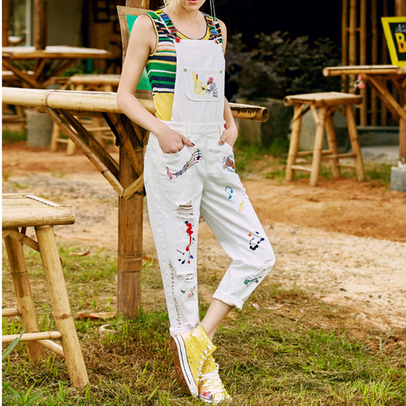 MUMUZI High Street White Denim   Jumpsuit   Cute Letter Colored Print Embroidery Cartoon Long Pants Rompers Overalls or Red Shirt
