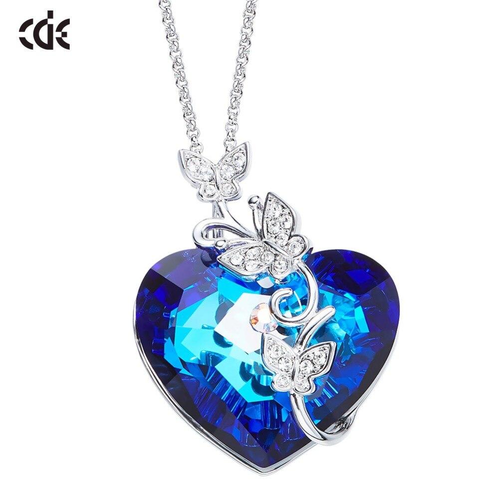 CDE pendentif collier orné de cristaux de Swarovski coeur papillon bijoux collier mode exquis bijoux cadeau