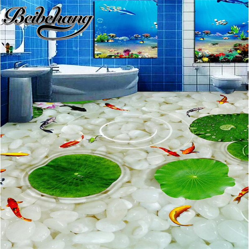 Modern Bathroom Kitchen Custom 3D floor mural wallpaper wear non-slip waterproof thickened self-adhesive 3d PVC floor stickers недорого
