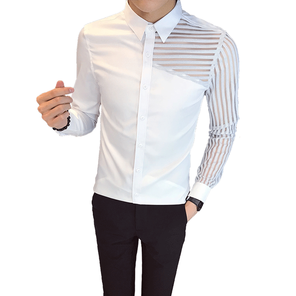 British Style Tuxedo Men Shirt Autumn New See Through Lace Long Sleeve Dress Shirts Male Slim Fit Casual Prom Tops Social tuxedo