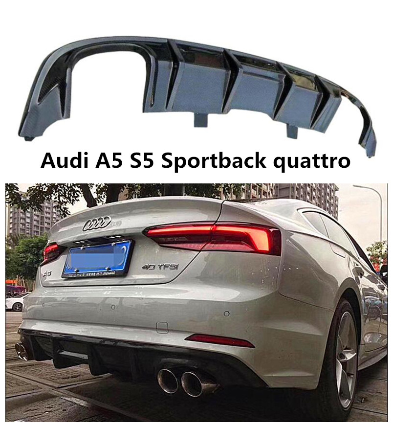 Carbon Fiber Rear Lip Spoiler For <font><b>Audi</b></font> <font><b>A5</b></font> S5 <font><b>Sportback</b></font> 2017 2018 2019 Bumper <font><b>Diffuser</b></font> High Quality Auto Accessories image
