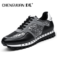 Hommes Casual appartements En Cuir chaussures 2017 pour hommes d'été respirant plat mocassins rivet dentelle up gris noir Chaussures de conduite CY6000