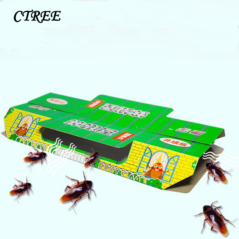 CTREE 10Pcs Cockroach Trap House Killing Insect Net Bait Pest Control Beetle Indoor Sticky House Non-Toxic Artifact Catcher C56