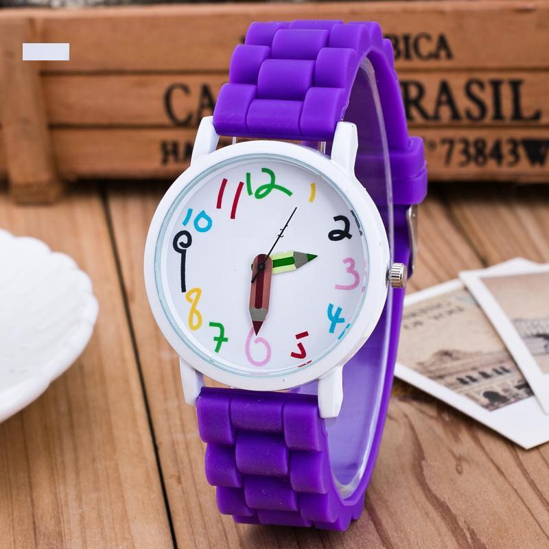 Droppshiping Silicone Watches Children Pencil Pointer Student Watch Quartz Wristwatches Gift Watches Dg88