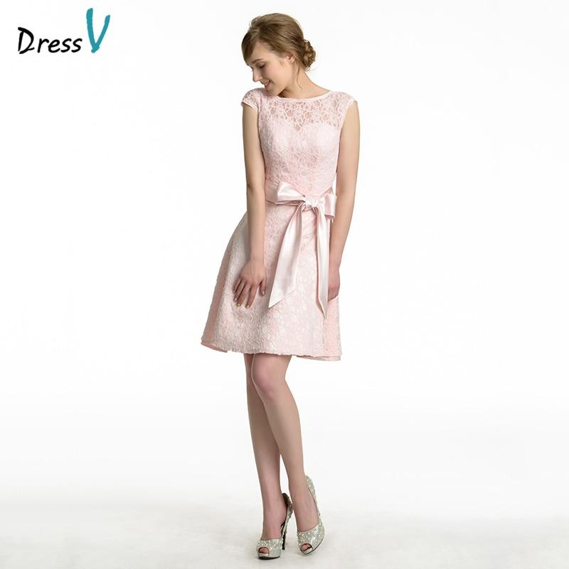 Shipping Custom Dress Line Knee: Dressv Pink Junior Bridesmaid Dress Knee Length Bow Lace