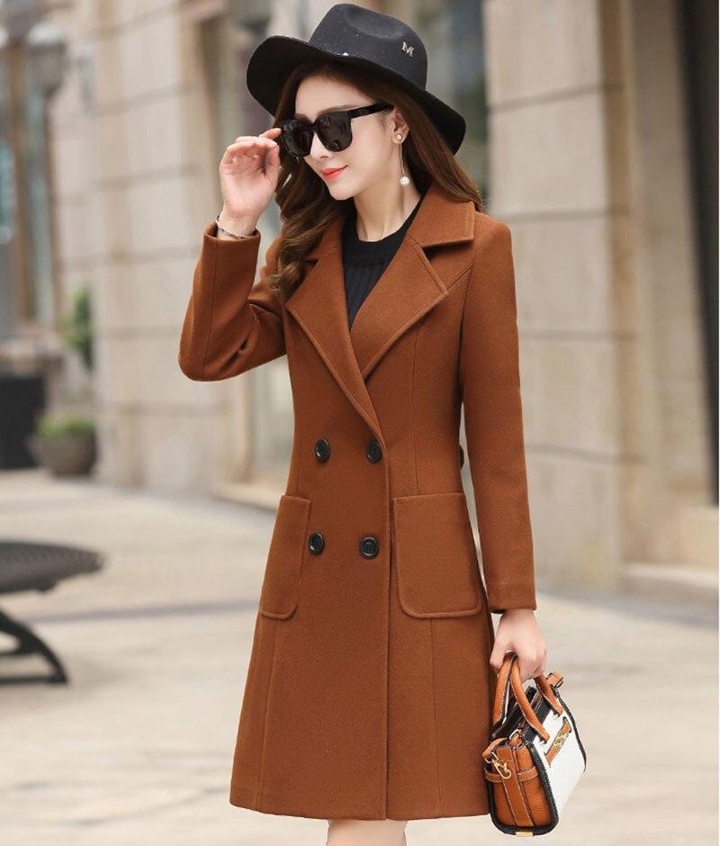 Outerwear Overcoat Autumn Jacket Casual Women New Fashion Long Woolen Coat Single Breasted Slim Type Female Winter Wool Coats 2