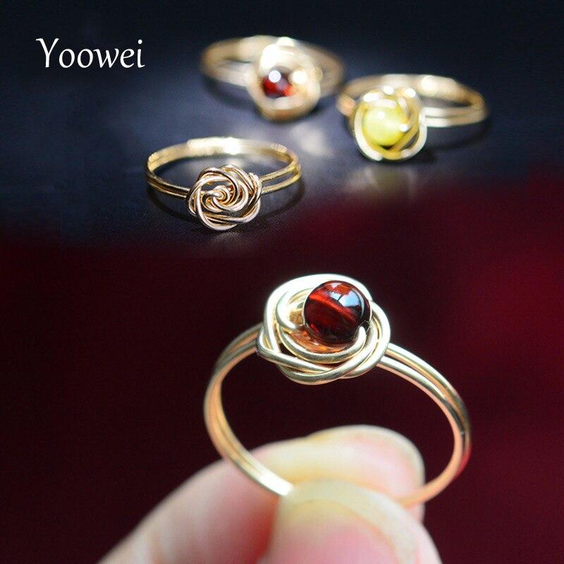 Yoowei 4 мм Янтарный Кольца для Для Женщин Специальный Потрясающие розы Кольца ручной шикарный лакомство из натуральной янтарные украшения ... ...