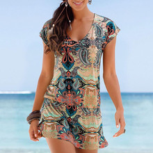 CHAMSGEND Летняя женская богемная печать с коротким рукавом Мини-юбка платье Элегантная Бохо Мода свободная пляжная юбка для отдыха на море