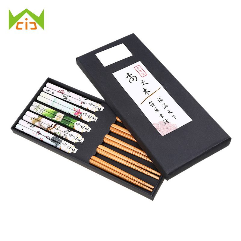 WCIC Bamboo Japanese Sushi Chopsticks Chinese Natural Bamboo Joint Tableware Chinese Chopsticks Eating Tools Food Chop Sticks image