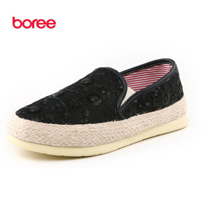Boree Summer Women's Shoes Fashion Loafers Casual Shoes Soft Canvas Knit Glitter Breathable Decor Flat Lazy Walking Shoes SDL124