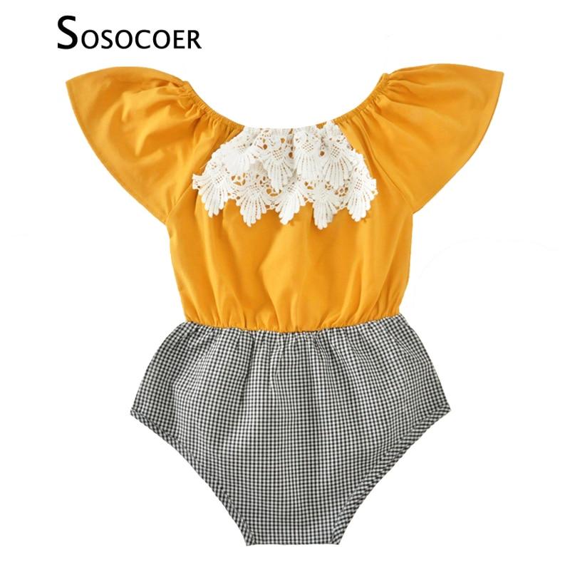 SOSOCOER Baby Meisje Romper Zomer 2017 Casual Kant Pasgeboren - Babykleding