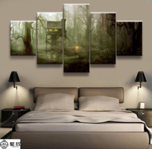 5 Panel A Cottage in the Forest Scenery Poster Canvas Printed Painting For Living Room Wall Art Decor Picture Artworks