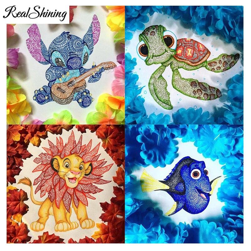 REALSHINING Diy Diamond Painting Cross Stitch Cartoon Sea Mermaid Turtle Square Diamond Embroidery 5D Mosaic Home Decor FS1893