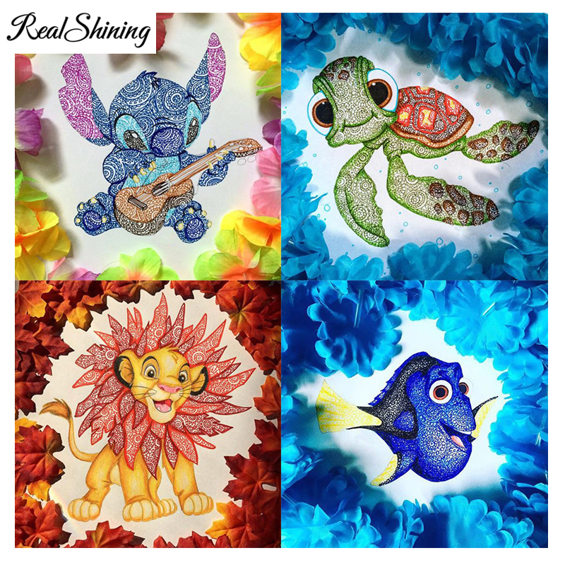 REALSHINING Diy Diamond Painting Cross Stitch Cartoon Sea Mermaid Turtle Square Diamond Embroidery 5D Mosaic Home Decor FS1893