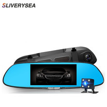 SLIVERYSEA Car DVR Vehicle HD 1080P Camera Video Dual Lens Rearview Mirror Record Rear Viewable 7 Blue Large Screen