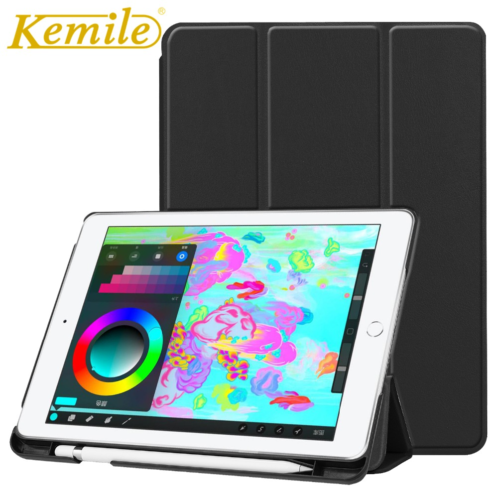 Kemile Case For New iPad 2018 A1893 A1954 9.7 PU Leather Smart Case W Pencil Holder Auto Sleep Wake Cover For New ipad 2018 Case for apple ipad pro 10 5 case 2017 new pu leather slim smart cover w pencil holder wake sleep function for ipad pro 10 5 case
