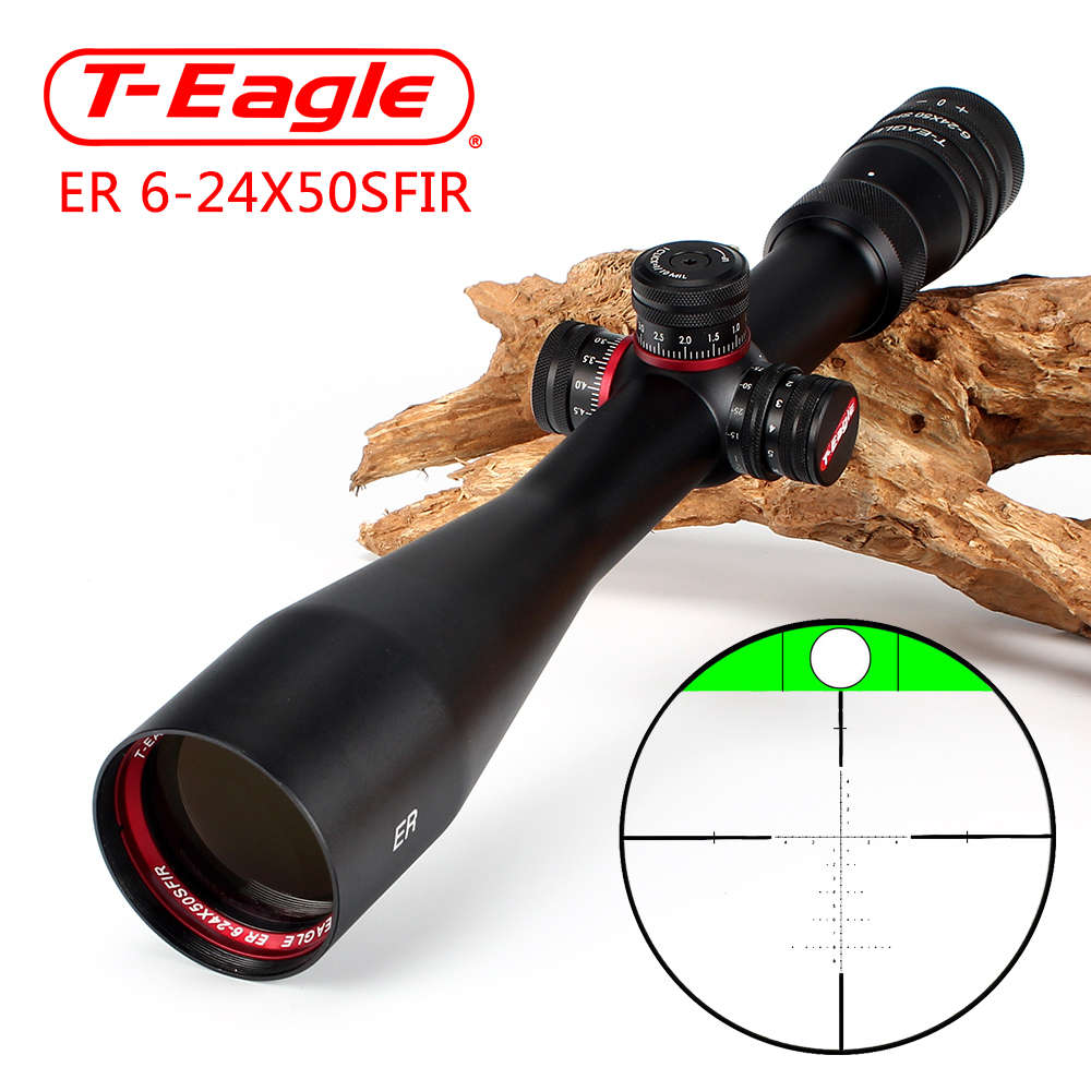 T-Eagle ER 6-24X50 SFIR Hunting Riflescope Side Parallax Glass Etched Reticle Turrets Lock Reset Built-in Bubb Level Rifle Scope t eagle 6 24x50 sffle riflescope side foucs rifle scope with spirit level tactical long range rifles airsoft air gun