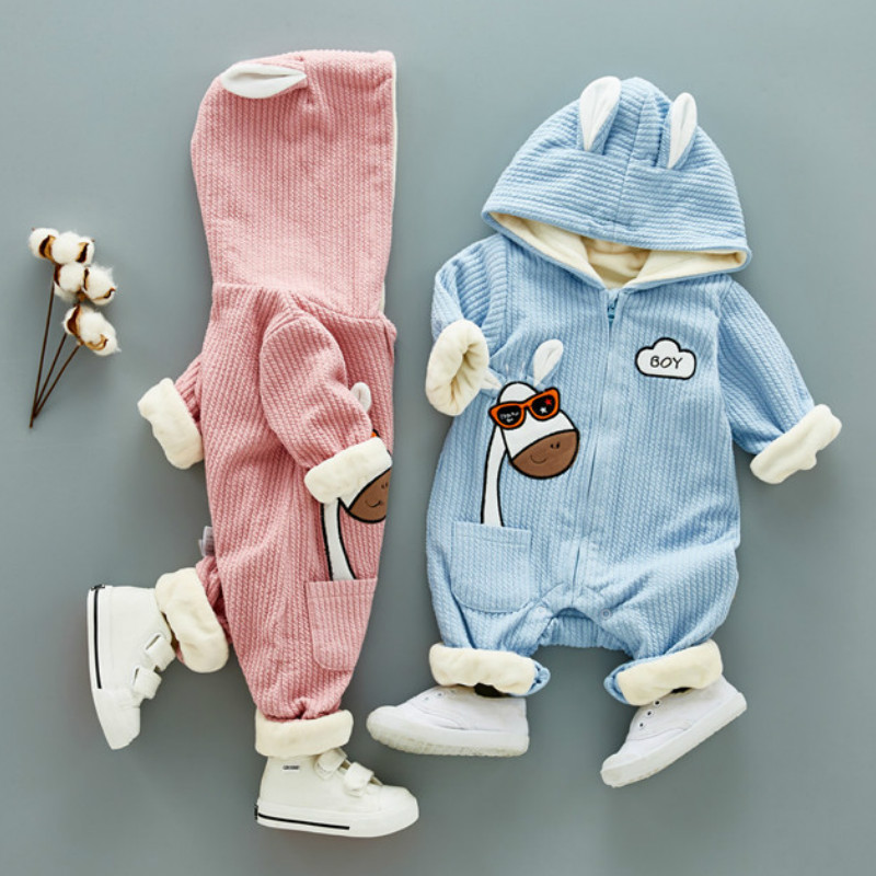 Autumn & Winter Newborn Infant Baby Boys Girls Warm Clothes Fleece Jumpsuit Romper Hooded Jumpsuit Bear Onesie Bebe Black Friday