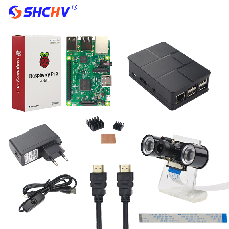 Raspberry Pi Camera Kit Raspberry Pi 3 + Night Vision Camera + Holder + Power Plug + USB Cable +Case + HDMI Cable +Heat Sink acv pi 622