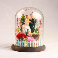 Immortal Fresh Rose with Lights In Glass Vase Preserved Cloche Wedding Decorations Forever Rose Flower Unique Gifts