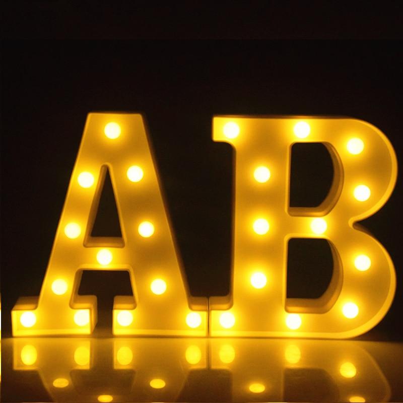 Светящаяся светодиодная лампа с цифрами 0-9 с 26 буквами, лампа с аккумулятором, домашние настенные подвесные ночники для свадьбы, дня рождени...