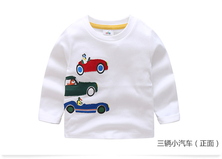 2018 Spring Autumn For 2-9 10 Years Children Cotton Striped Patchwork Cartoon Car Bus Truck Baby Kids Boys Long Sleeve T Shirts (45)