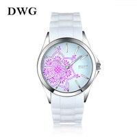 DWG Kadın Saatler Üst Marka Toptan Kuvars Beyaz Silikon Kayış Benzersiz Saatler Kılıf Çiçekler Elbise Bayanlar Kol Saati