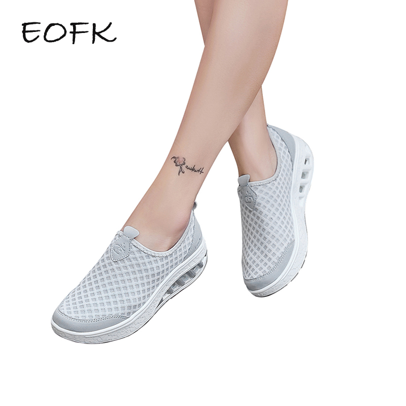 EOFK Summer Women Flat Platform Shoes Woman Casual Slip On Light Soft Air Mesh Breathable Female