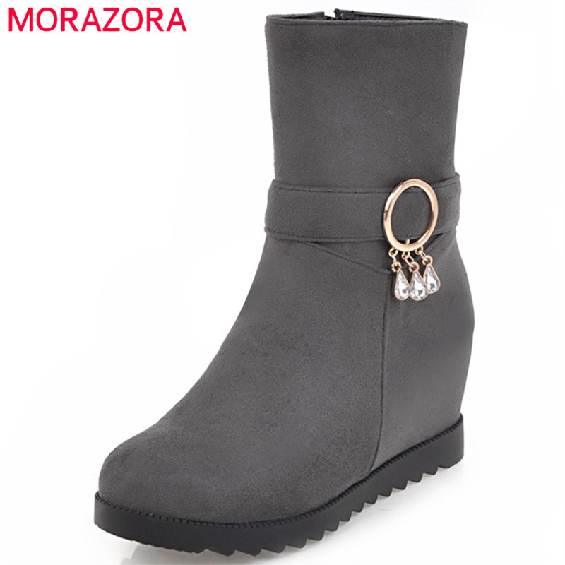 MORAZORA Height increasing shoes woman fashion boots PU nubuck leather ankle boots for women in spring