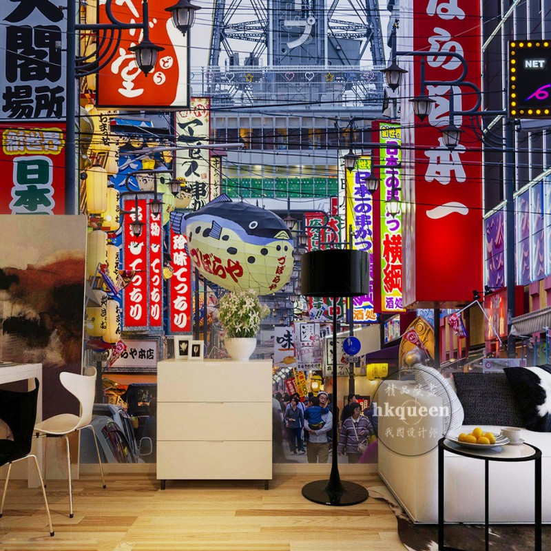 Japanese street background living room lobby mural high quality custom amusement park restaurant wallpaper  free shipping ancient retro restaurant background painting living room lobby mural high quality bathroom restaurant wallpaper