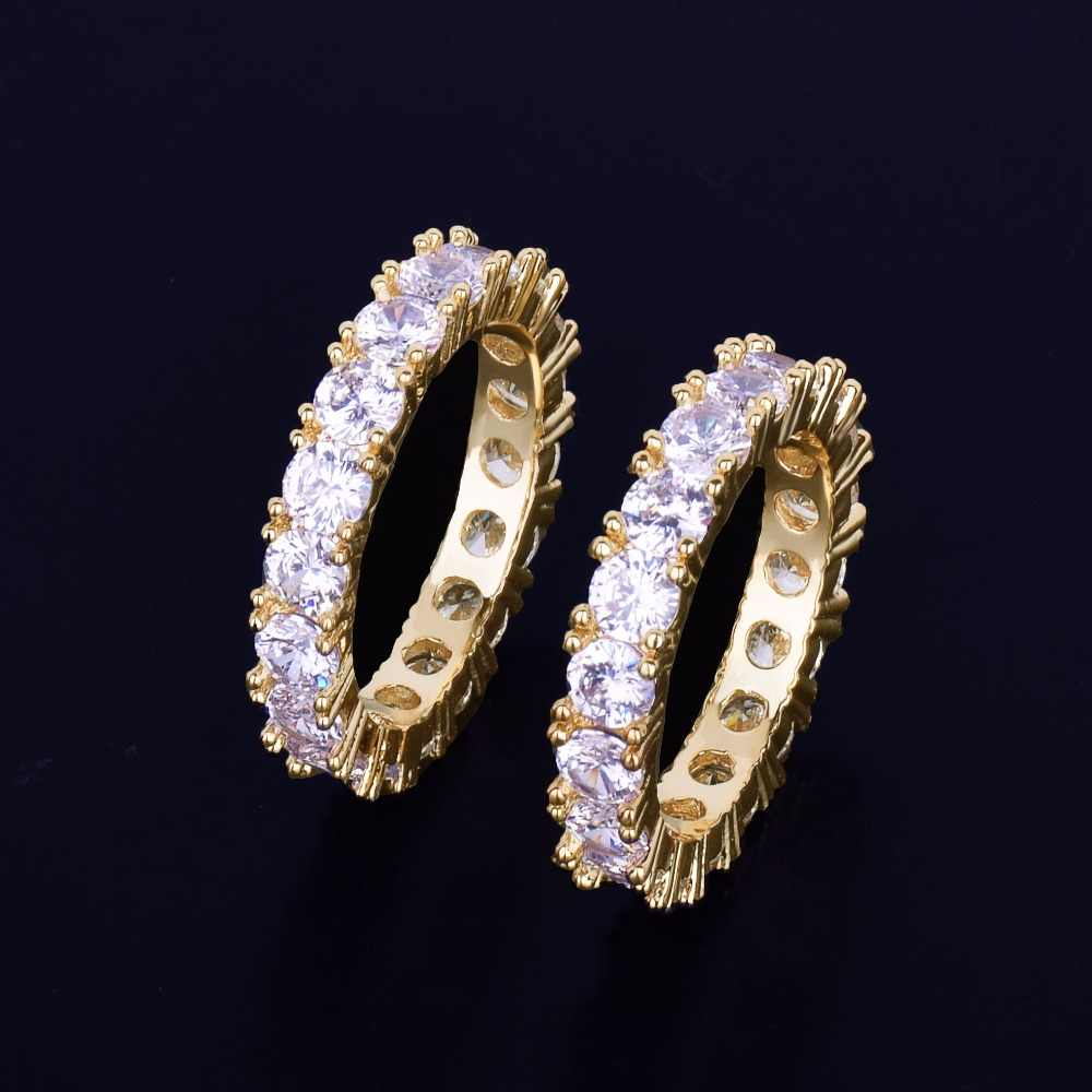 4 MM 1 แถว Solitaire เทนนิสชายแหวนทองแดง Charm Silver Silver Cubic Zircon เย็นแหวนแฟชั่น Hip hop เครื่องประดับ