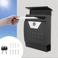 Newest Outdoor Garden Security Lockable Wall Mounted Secure Post Box Mailbox Excellent Newspaper Letter Mail Box