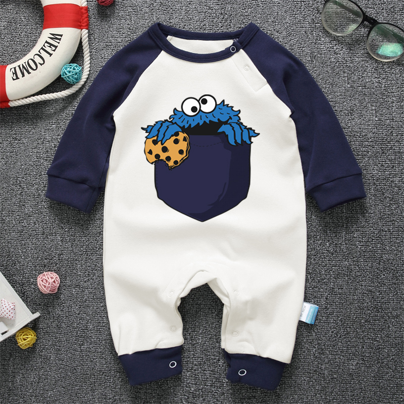 COOKIE MONSTER Funny Design Printing Baby Romper Long Sleeve Cotton Clothing Toddler Baby Boy Girl Cartoon Jumpsuit Clothes