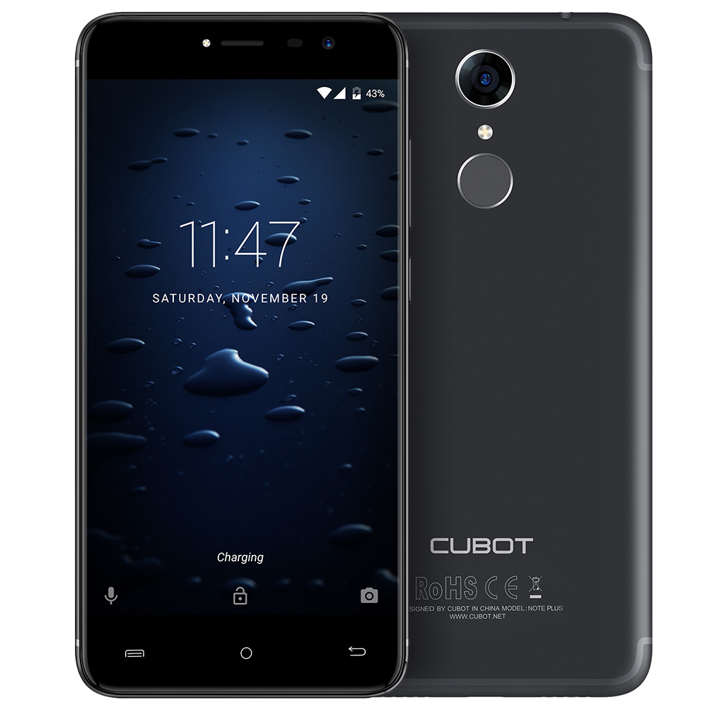 Cubot Note Plus 4G Smartphone 5.2 Inch Android 7.0 MTK6737T Quad Core 1.5GHz 3GB RAM 32GB ROM 13.0MP Rear Camera Fingerprint GPS