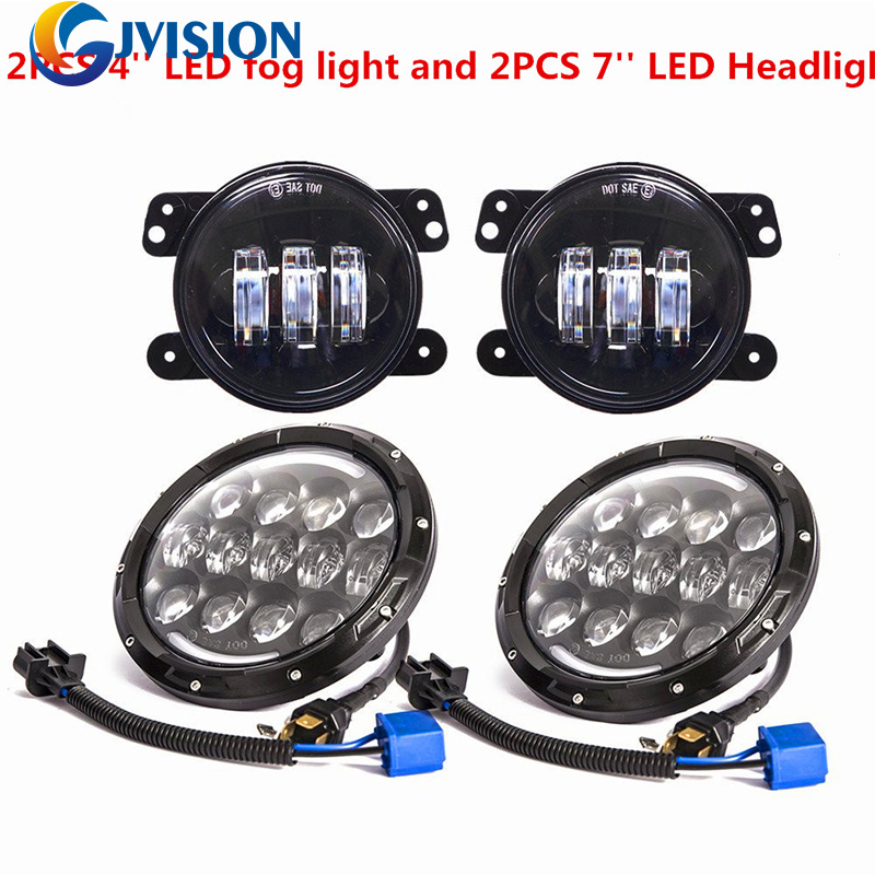 DOT Approved 7'' headlamp 7inch Daymaker led headlights Hi/Lo Beam + Pair 4'' inch 60W led fog lights for Jeep Wrangler TJ LJ 2pcs new design 7inch 78w hi lo beam headlamp 7 led headlight for wrangler round 78w led headlights with drl
