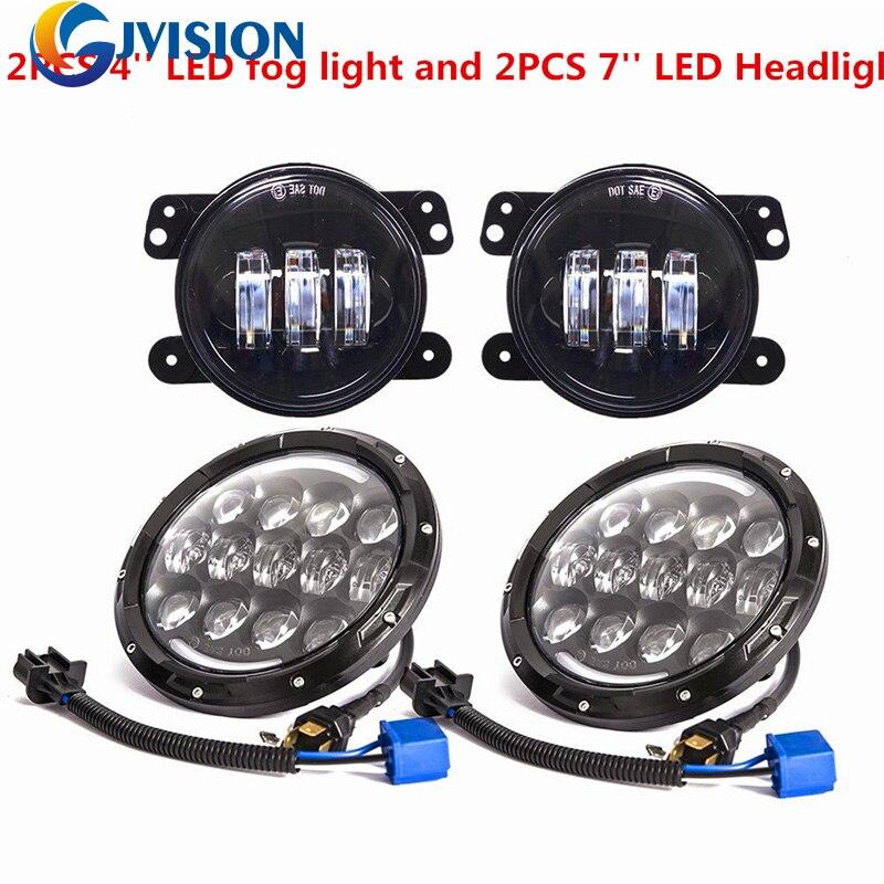 DOT Approved 7 headlamp 7inch Daymaker led headlights Hi/Lo Beam + Pair 4 inch 60W led fog lights for Jeep Wrangler TJ LJ