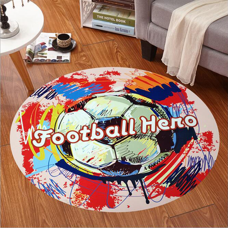 Football Graffiti Cartoon Round Carpets For Living Room Bedroom Computer Chair Area Rugs Kids Bedroom Play Mat Coffee Table Mats