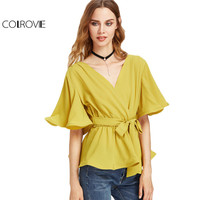 COLROVIE White Ruffle Hem Shirt Office Ladies Elegant Blouse Women Summer Flutter Sleeve Belted Surplice Wrap