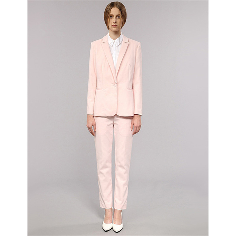 Light Pink Womens Business Work Suits Female Office Uniform One ...