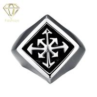 Men Rings Trendy 316L Stainless Steel Gomaya Movie Star Favorite Individuality Cross Finger Ring Vintage Exaggerated