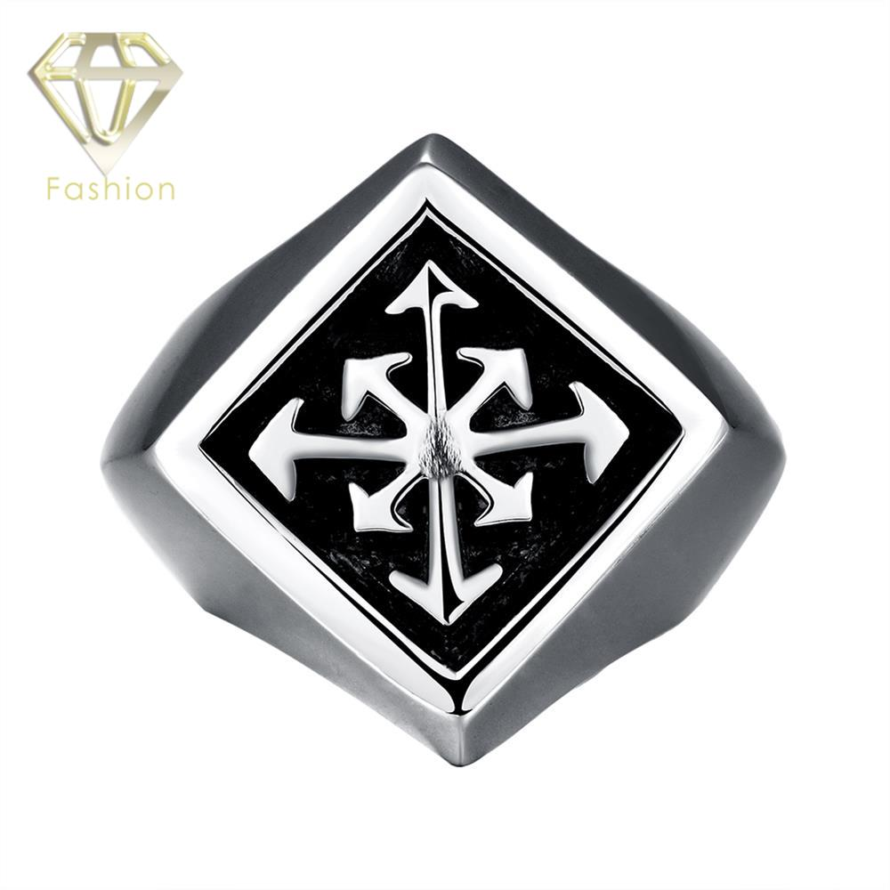 Men Rings Trendy 316L Stainless Steel Gomaya Movie Star Favorite Individuality Cross Finger Ring Vintage Exaggerated Jewelry