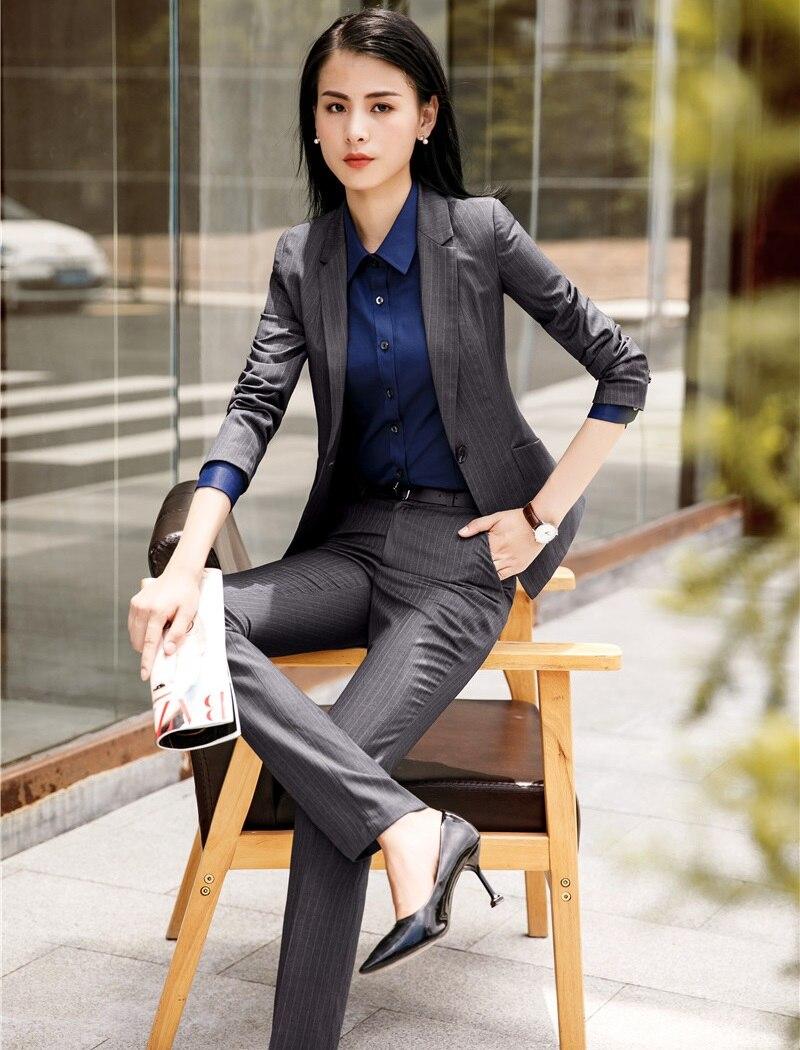 D'affaires Pantalon Travail Mode Rayé Striped Pantalons Vestes Striped Vêtements Costumes Femme Haute Qualité Bureau Femmes Tissu Grey black Ensembles De Et Ol Styles UxnUvqwT