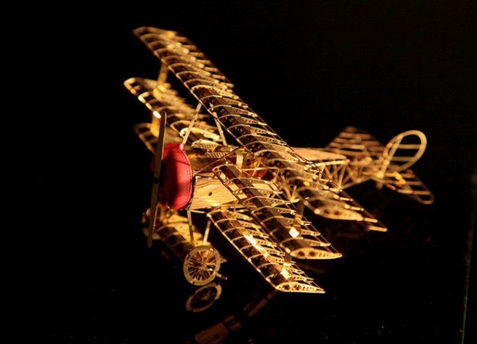 Model-Toy Aircraft Airplane Puzzle Miniatures Fighter-Three-Wing Fokker Metal World-War-1
