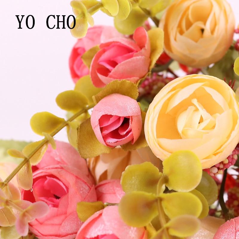 Yo Cho Wedding Decoration Sequins Artificial Fern Silk Rose Flower