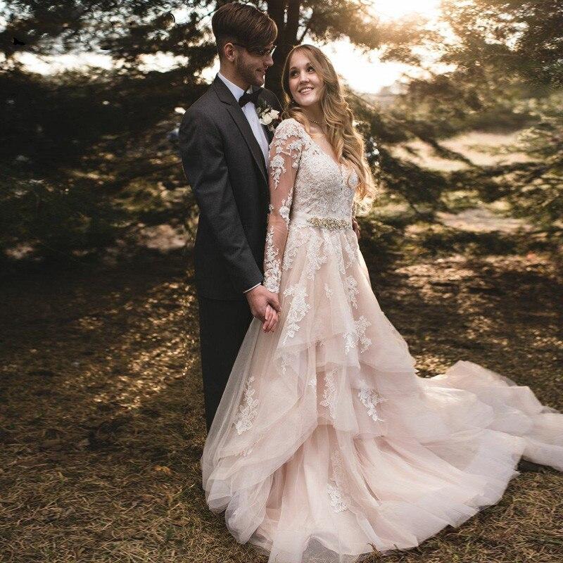 LORIE Light Champagne Wedding Dress Long Sleeves 2019 Robe de mariee Floor Length Vintage Lace Bridal